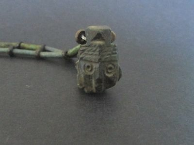 NILE  Ancient Egyptian Stone Face Amulet Mummy Bead Necklace ca 100 AD