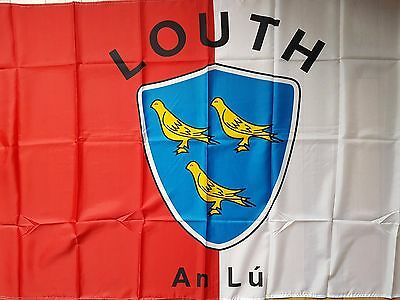 County Louth Ireland Crested Gaa Hurling Flag  5Ft By 3Ft New