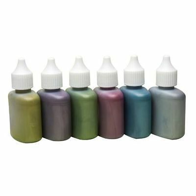 6 METALLIC SCOLA MARBLING INK 25ml DROPPER TOP GOLD SILVER BLUE GREEN RED PURPLE