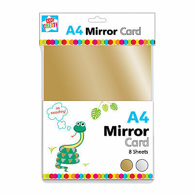 8 x A4 SHEETS GOLD & SILVER MIRROR CARD METALLIC SHINY THICK BOARD CRAFT PVO