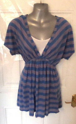 ❤ BLOOMING MARVELLOUS Gorgeous Maternity Size 12 Blue Pink Stretch Blouse Top