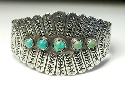J5599 Early Mexico Stamped Sterling Silver Green & Blue Turquoise Stones