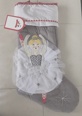 NWT Pottery Barn Kids Christmas Blonde Ballerina Grey Quilted Stocking NEW