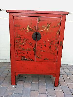Vintage Painted Wooden Chinese Armoire Wardrobe Cabinet