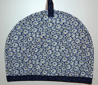 """TEA COZY-Daisies on Deep Blue with Yellow, HANDCRAFTED in USA,QUILTED,11""""Wx13""""L"""