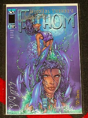FATHOM #1 - Signed on the cover by MICHAEL TURNER Joe Weems JD SMITH +++ Top Cow