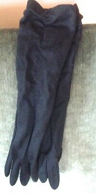 Vintage Ladies Long Black Ruched Gloves, Black Nylon Gloves, Kayser, Canada