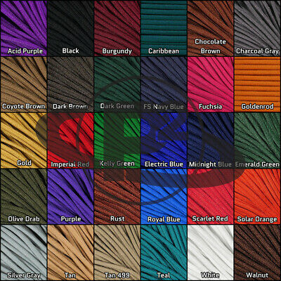 550 Paracord 10 to 100 Feet 4 mm Type III Outdoor Cord - Solid Colors - USA Made