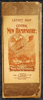 road map 1905 Mt. Washington NH canvas Old Man auto bicycle routes antique
