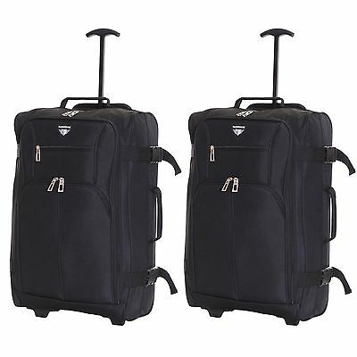 Ryanair Easyjet Set of 2 Cabin Approved Hand Trolley Suitcases Luggage Case Bags