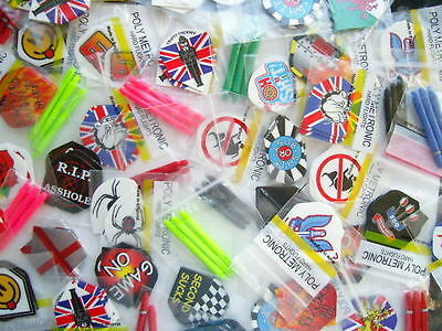 30 Dart Flights & 30 Dart Stems Mixed Top Quality Brands + Extra Free Accessory