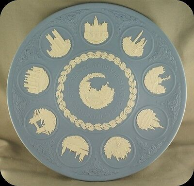 "Blue Jasper Wedgwood 9 1/2"" Plate Christmas 1978 Tenth Anniversary"