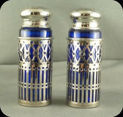 Cobalt Glass with Silver Plate Sleeves Salt and Pepper shakers Made in Japan