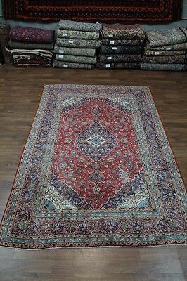 Fine Traditional Handmade Red Kashan Wool Persian Oriental Area Rug Carpet 8X12