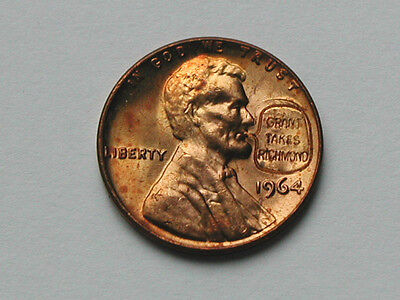 Grant Takes Richmond Stamped 1964 Lincoln Cent Novelty Coin Countermarked Penny