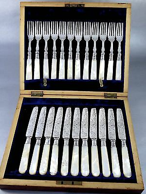 1904 DANIEL GEORGE COLLINS SHEFFIELD Silverplate & Mother Of Pearl CUTLERY SET