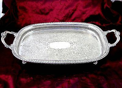 Vintage MORTON PARKER CANADA Silverplate FOOTED GALLERY TRAY W/HANDLES 22 1/4""