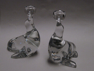 """New Martinsville Glass, Pair Seal with Ball Candle Holders Candlesticks, 7"""""""