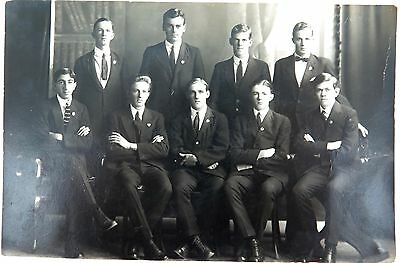Rare 1920 Real Photo Postcard Ipswich Grammar School, Staff Photo. J A Hunt