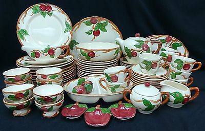 FRANCISCAN china APPLE USA pattern 87-piece SET SERVICE for 12 w/ 15 serving pcs