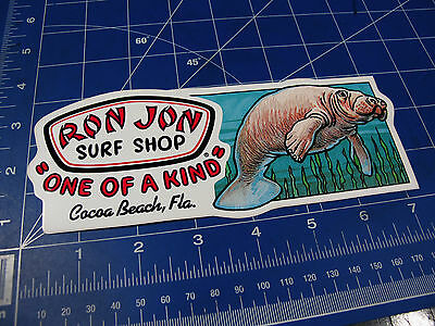 vtg* 1980s 90's Ron Jon surf sticker Manatee shape cut