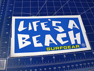 Vintage* 1980's Life's a Beach Surfgear Surf sticker LG blue yellow letters