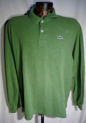 Vintage LACOSTE Green Long Sleeve Cotton Polo Shirt  MENS LARGE