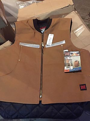 New Size 2 Xl Tough Duck Quilted Lined Work Vest, Brown- $89.00