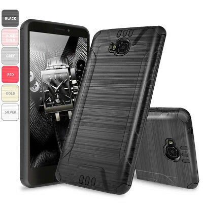 For AT&T Huawei Ascend XT GoPhone Shockproof Armor Brushed Case +Glass Screen