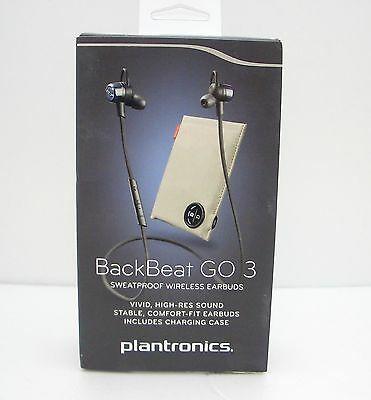 Plantronics Backbeat Go 3 Bluetooth Wireless Headset with Charger - Cobalt Black
