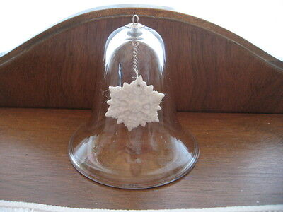 Clear Glass Bell W/ Inside White Porcelain Snowflake Clangor