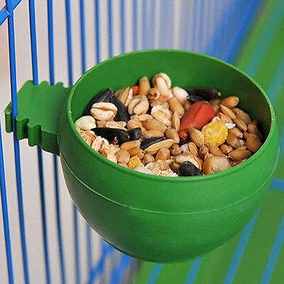 Food Bowl Cups Feeding Plastic Parrot Supplies Round Bird Pigeons Cage Sand Cup