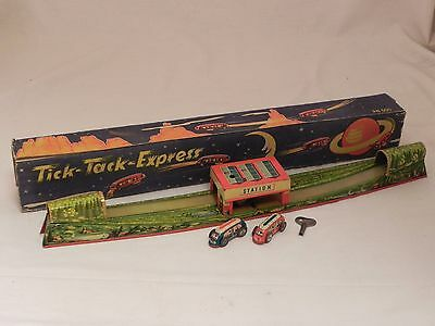 PN 500 Tick Tack Express tin toy track Niedermeier US zone space rocket art box