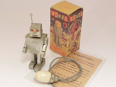 Nando robot OPSET italy tin toy w/ space age art box and instructions RARE