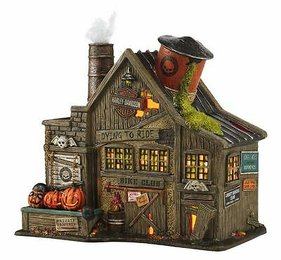 Department 56 Halloween Village Harley Davidson's Ghost Riders Club 4044878 New