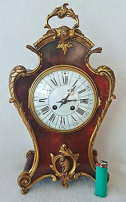 Antique French Boulle Clock 8 Day Medalion Enamel Dial  42cms Rare