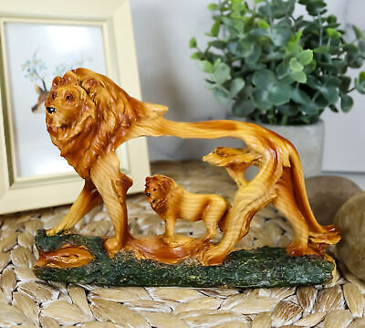 Rustic Faux Wood Majestic African Savannah Pride Lion Scene Figurine Decor