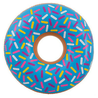 Over 2.5Ft Inflatable Blue Donut Doughnut- Blow Up Food Pool Toy Kids Fun Gift