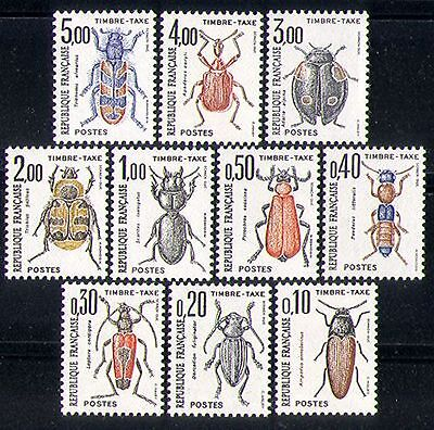 France 1982 Beetles/Nature/Insects/Postage Due/To Pay 10v set (n29801)