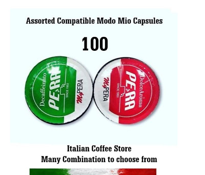 100 Assorted Coffee Capsules Compatible  Lavazza A Modo  Mio® With Options