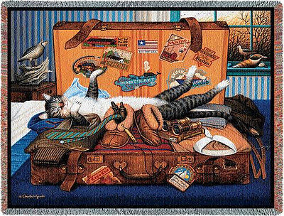 Throw Tapestry Afghan - Mabel The Stowaway 1666