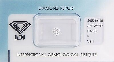 Diamond 0,50ct F VS 1 Round IGI Certificate  - Laserscribe and Sealed -