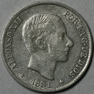 1881 PHILIPPINES (Spain Colony) Silver 10 Centimos (16070806R)