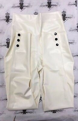 R1242 Rubber Latex Leggings  PINUP BURLESQUE *WHITE/BLK* SMALL ONE ONLY