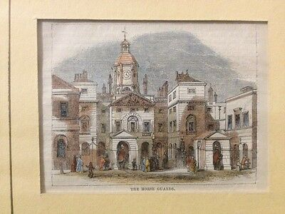 Antique Hand Coloured Engraving - The Horse Guards, London - In Mount