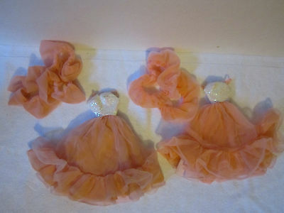 Lot of 2 Barbie Peaches 'N Cream Gowns with Boas - Very Pretty!!