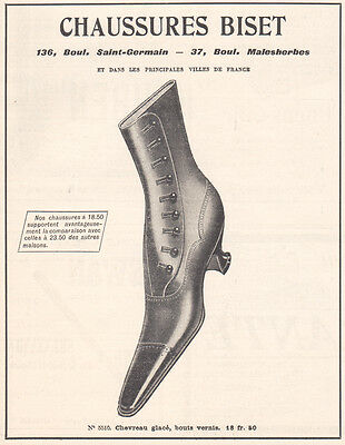 1905 Print Ad Chaussures Biset Ladies Shoes Boots