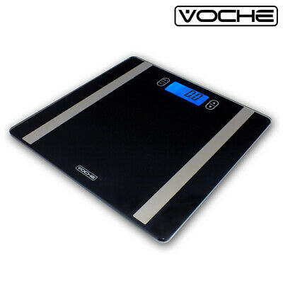 Voche® Ultra Slim Glass Lcd Digital Body Analyser Bmi Bathroom Weighing Scales