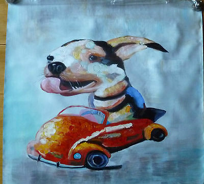 Hand-painted modern abstract Dog in Car -  Oil Painting on Canvas
