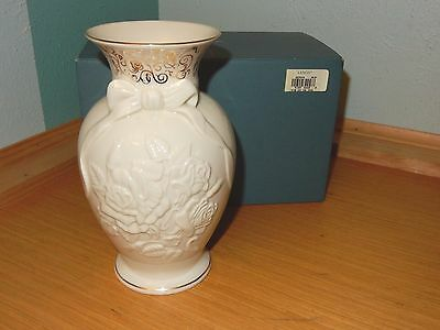 Lenox Roses Of Peace Millennium Ivory Porcelain With Bow Accent Large Vase 8.5""
